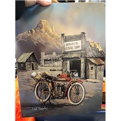 NO RESERVE NAVAJO CYCLE SHOP SIGN FEATURING VINTAGE INDIDAN MOTORCYCLE BY TED BLAYLOCK