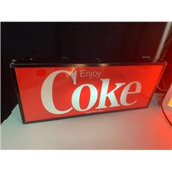 NO RESERVE COLLECTIBLE TWO FOOT CIRCA 1980 COKE LIGHT UP SIGN