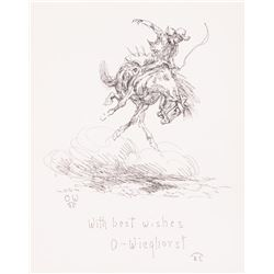 Olaf Wieghorst, two pen and ink drawings