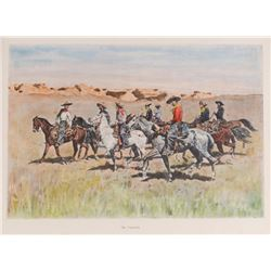 Frederic Remington, five handcolored half-tone prints