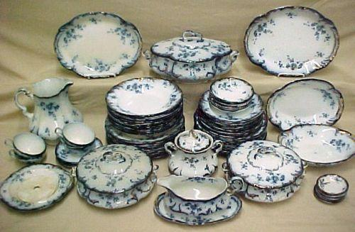 Image 1  Set of English flow blue dinnerware Rid ... & Set of English flow blue dinnerware Rid