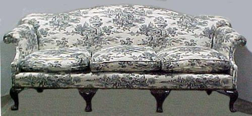 Queen Anne Style Toile Upholstered And Mahogany Sofa