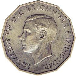 Great Britain King Edward Viii Brass Threepence 1937