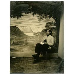 RELAXED BEFORE BACKDROP SCENE AMBROTYPE