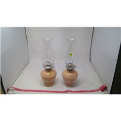 2 COAL OIL LAMPS WITH CHIMNEYS