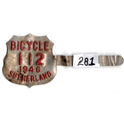 Scarce 1946 Sutherland, Sk bicycle license