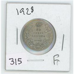 1928F CANADIAN 25 CENT