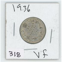 1936VF CANADIAN 25 CENT