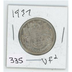 1937VF-2 CANADIAN 50 CENT