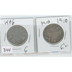 1906G, 1910G-2 CANADIAN 50 CENTS