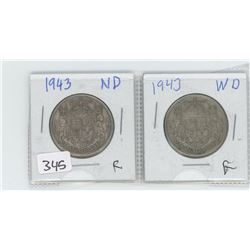 1943ND, 1943WD CANADIAN 50 CENTS