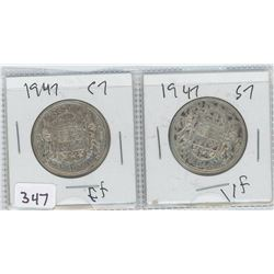 1947EF-C7, 1947VF-S7 CANADIAN 50 CENTS