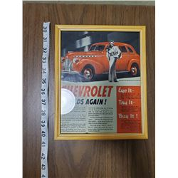 FRAMED VINTAGE CHEVY AD