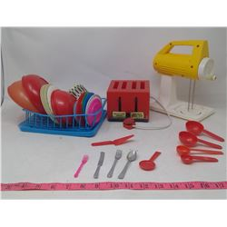 Kids Kitchen Set (Mini Dishes, Toaster & Mixer)