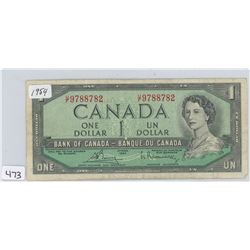 1954 CANADA $1 (RED SERIAL NUMBERS)