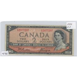1954DF CANADA $2 (RED SERIAL NUMBERS)