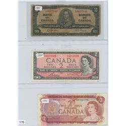 1937 BANK OF CANADA $2, 1954, 1974 CANADA $2 (RED SERIAL NUMBERS)