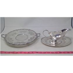 Silver plated Serving Trays & Gravy Boat