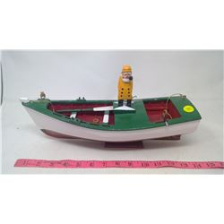 Handcrafted Wooden Newfoundland Fishing Boat & Sailor