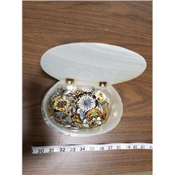 GLASS SHELL JEWELRY BOX WITH JEWELRY