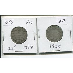 1920, 1928 CANADIAN SILVER 25 CENTS