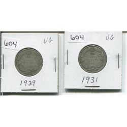 1929, 1931 CANADIAN SILVER 25 CENTS (1929 LOW MINTAGE)