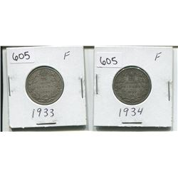 1933, 1934 CANADIAN SILVER 25 CENTS (LOW MINTAGE)