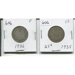 1935, 1936 CANADIAN SILVER 25 CENTS (1935 LOW MINTAGE)