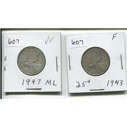 1943, 1947 CANADIAN SILVER 25 CENTS
