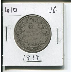 1919 CANADIAN SILVER 50 CENTS