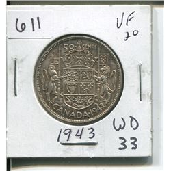 1943 CANADIAN SILVER 50 CENTS