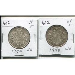 TWO 1944 CANADIAN SILVER 50 CENTS