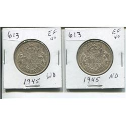TWO 1945 CANADIAN SILVER 50 CENTS