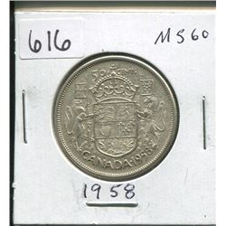 1958 CANADIAN SILVER 50 CENTS