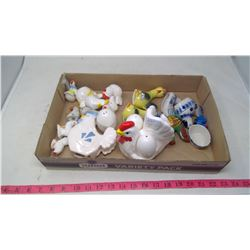 SMALL BOX OF ROOSTER SALT & PEPPER SHAKERS & MISC.