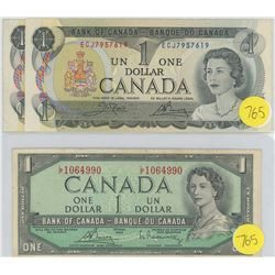 1954 and two 1973 One Dollar Bills