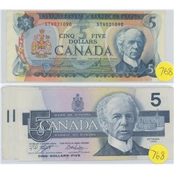 1972 and four 1986 Five Follar Bills
