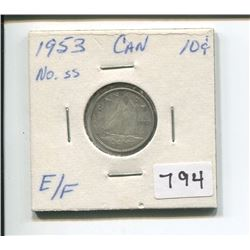 1953 NSS CANADIAN TEN CENT PIECE
