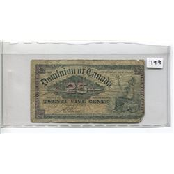 DOMINION OF CANADA TWENTY-FIVE CENT NOTE