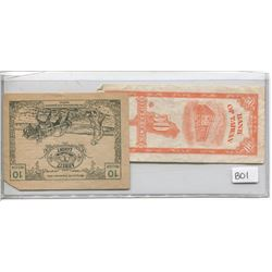 BANK OF TAIWAN FIFTY CENT NOTE & 1920 TEN HELLER NOTE (GERMANY)