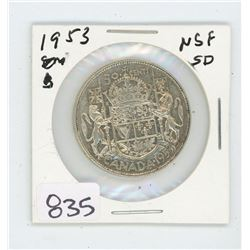 1953 SF LD CANADIAN 50 CENT PIECE