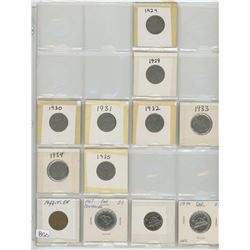 FIVE CENT COINS IN PLASTIC PAGE (12)