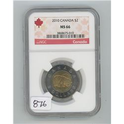 2010 NGC MS-66 CANADA TWO DOLLAR COIN