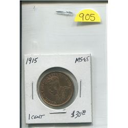 1915 King George Gold Plated One Cent