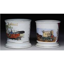 TWO RARE SHAVING MUGS