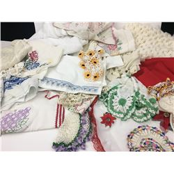 LOT OF LINENS, EMBROIDERED, CROCHET ETC.