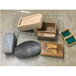 WIRE BASKET WITH BOXES, TIN, ETC