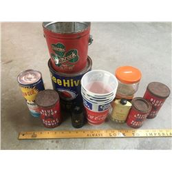 LOT OF MISC ADVERTISING TINS ETC