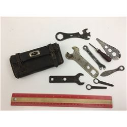 VINTAGE LEATHER BYCYCLE REPAIR KIT AND WRENCHES