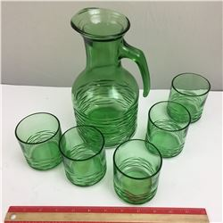 GREEN GLASS PITCHER AND GLASSES